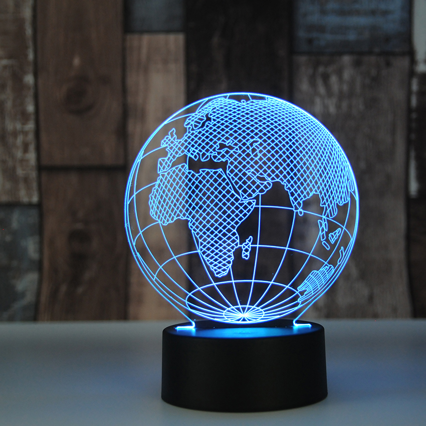 Novelty Design Tellurion Globe World Europe Map 3D LED Lamp 7 Colors Changing Mood Bulb Kid Desk Decoration Gadget Gift Toy image