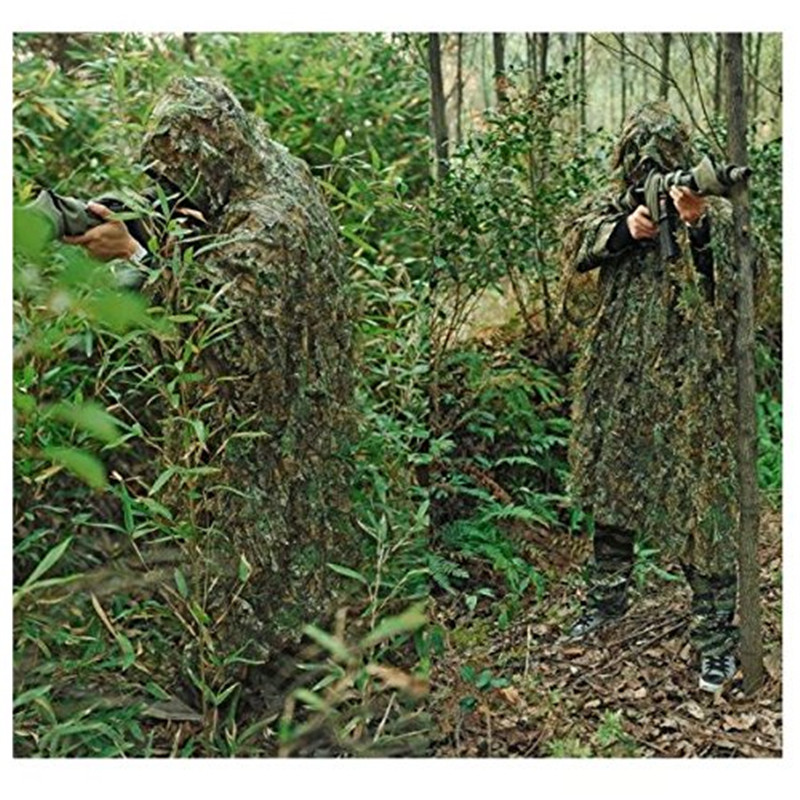 Woodland Camouflage Ghillie Poncho Suit Breathable Military Outdoor Hunting Clothing CS Shooting Activities Hunting Ghillie Suit outdoor bonic ghillie suit hooded climbing camping hunting camouflage clothing fishing bird waterproof plus size big size loose