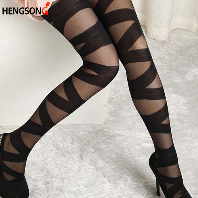 Women Sexy Black Ripped Cut-out Bandage Ultra-thin Tights Elastic Personality Spring Slim Pantyhose