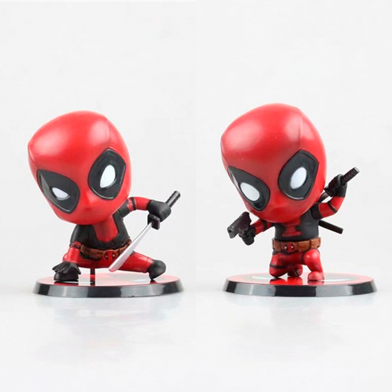 10cm Marvel Toys Deadpool Figure Bobble-Head 1/10 Scale Pre-painted Mini Collectible Model Dolls Toy for kids gift Christmas new 10cm dishonored 2 action figure big bobble head q edition no box for car decoration