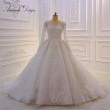 Amanda Tasarım nikah elbisesi Tam Kollu Dantel Aplike Kristal düğün elbisesi