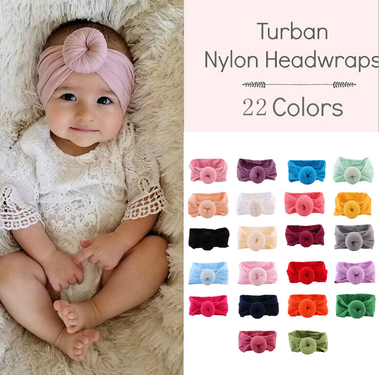 Miss Janice Hair Accessories Newborn Baby Girls Stretch Soft Nylon Bow Headband 13 Colours Attractive Appearance