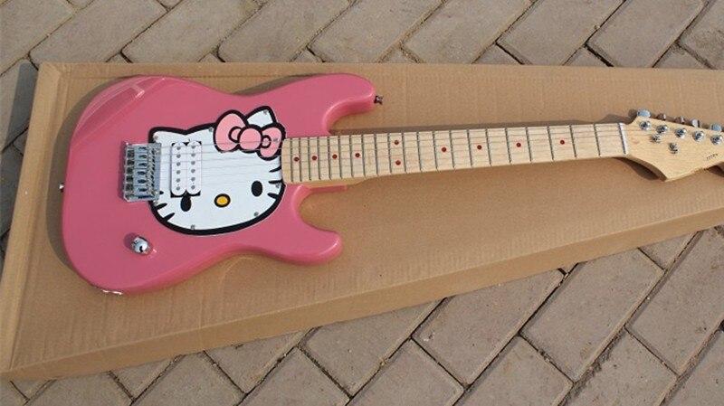Оптовая продажа с фабрики hello kitty Детская электрогитара клен гриф, розовый или Небесно голубой может быть выбран, предложение по индивидуаль