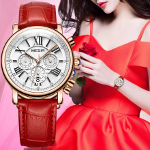 Megir Luxury Brand Watch Women's Luxury Gold Quartz CLOCK WOMAN Laether Sport Lady Wrist Watch Montre Femme Relogio Feminino
