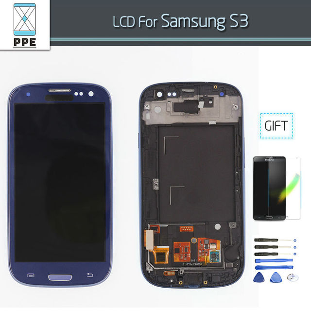 LCD Screen for Samsung Galaxy S3 SIII i9300 i9305 i747 i535 LCD Display Touch Screen Digitizer Frame Bezel Assembly White Blue