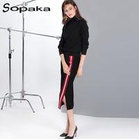 Luxurious 2017 Winter Turtleneck Collar Cashmere Sweater Skirt Two Pieces Women Sets Normcore Minimalist Striped Black
