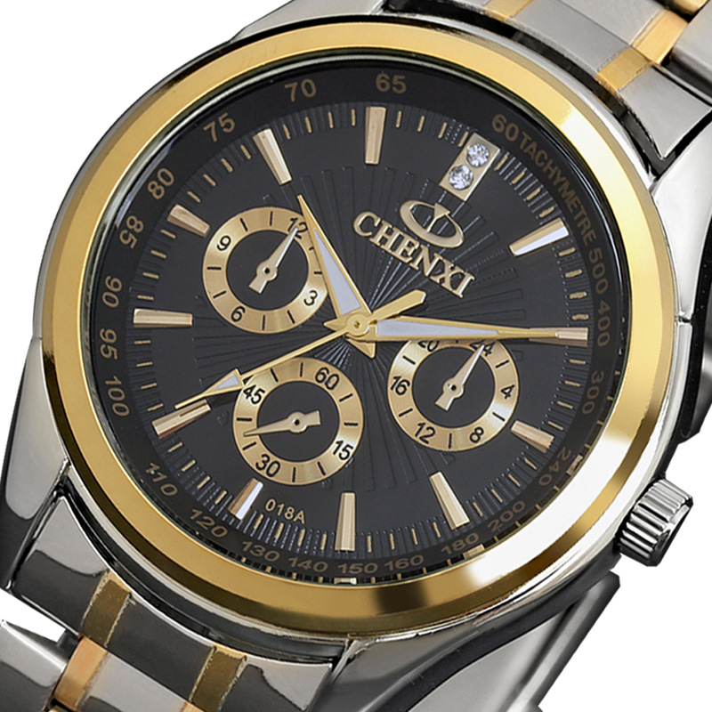 193dca39389 2018 Moda Relógio de Quartzo Homens CHENXI Relógios Top Marca de Luxo  Famoso Relógio de Pulso Relogio masculino Relógio Masculino Relógio De Aço  De Ouro