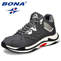 BONA New Fashion Style Men Casual Shoes Cow Leather Lace Up Men Sneakers Comfortable Outdoor Men
