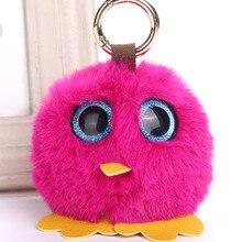 Фотография Fashion Owl Keyring Faux Rex Rabbit Fur Pompom Ball Key Ring Chain Woman Bag Charms Bird Pom Pom Keychain Party Trinket