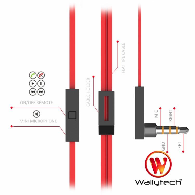 Wallytech orginal metal earphone WHF-125 MIC