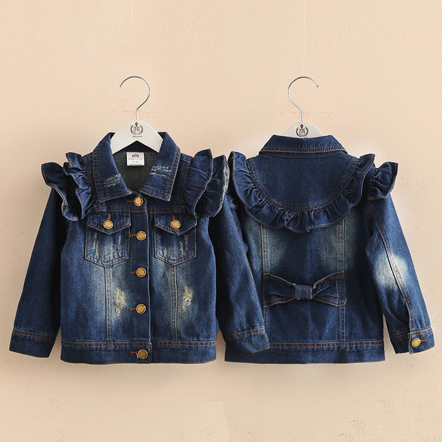 Baby girl clothes kids ruffle outerwear 2016 spring autumn children's clothing child denim Jackets & Coats
