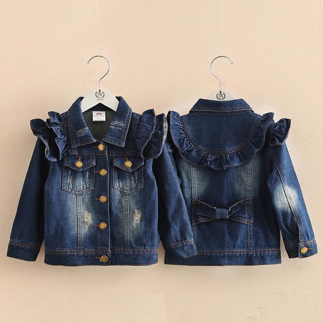 Menina roupa do bebê crianças irritar outerwear 2016 primavera outono infantil roupas criança denim Casacos & Coats