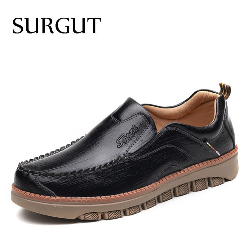 SURGUT Casual Shoes Men Cow Leather Zapatos Vintage Zapatillas Designer Shoes Men Dress Moccasins Loafer Slip On Flats Men Shoes branded men s penny loafes casual men s full grain leather emboss crocodile boat shoes slip on breathable moccasin driving shoes