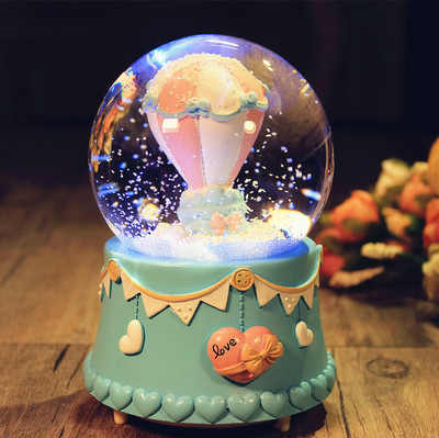 12-15CM Confession Balloon Snow Globe Glass Crystal Ball Music Box Home Decor Wedding Valentine's Day Christmas New Year Gifts