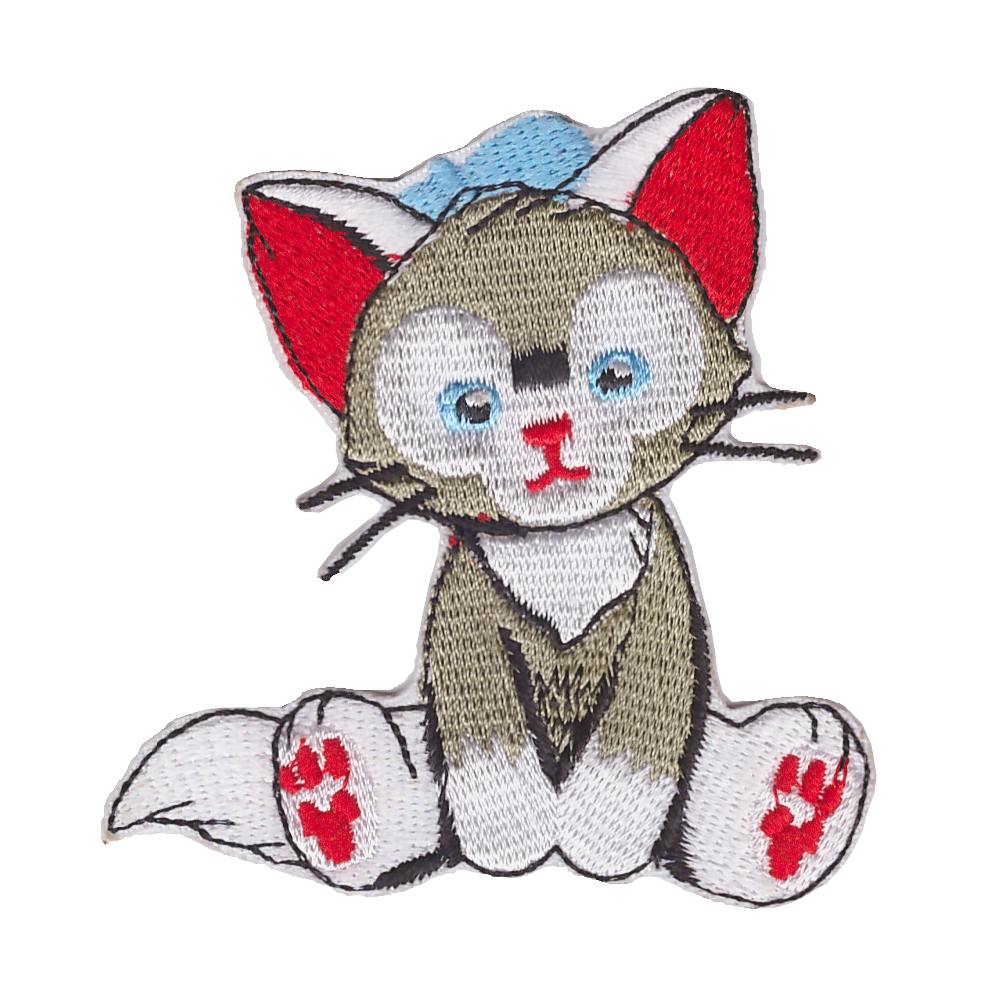 loveliness Cartoon Cat Badge Iron On Embroidery Patches Garment Appliques DIY Accessory 10pcs/lot