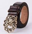 2016 Genuine leather belts for women fashion style female strap womens belt vintage floral pin buckle belts women cintos