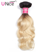 Unice Hair 1B/613 Ombre Brazilian Hair Weave Bundles 16-24 Inch 1 PC Body Wave 2 Tone Black Blonde 100% Remy Human Hair Weft(China)