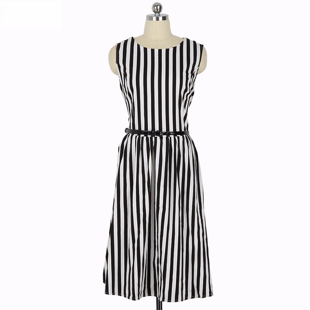 MisShow 2019 Summer black Women Dress Retro Stripe Audrey Hepburn 1950s  Vintage Robe Rockabilly Casual Vestidos With Belt -in Dresses from Women s  Clothing ... 3be860b94771