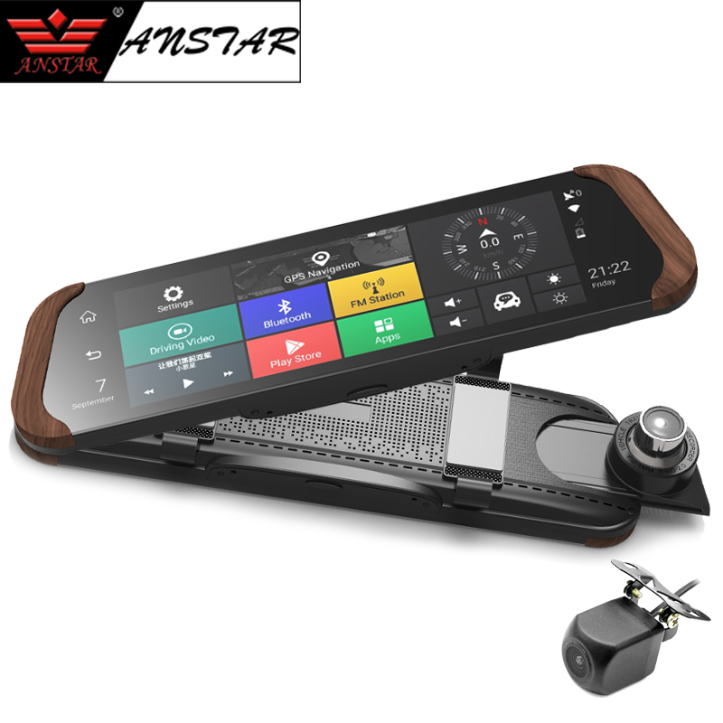 Anstar 4G Rear View Mirror Car DVR Dual lens Android 10