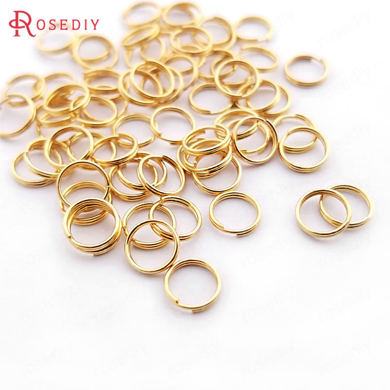 (30349)100PCS 6MMx0.5MM 24K Gold Color Plated Brass Double Loop Jump Rings Split Rings High Quality Jewelry Accessories 30349 30349