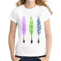 Hot Sale 2016 Fashion Feathers And Arrows Design Women T Shirt Colorful Printed Novelty Tee Short