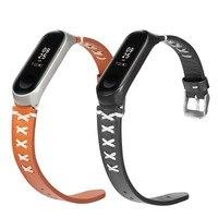 Correa de cuero para Xiaomi Mi band 4, correa de cuero negro y marrón para reloj inteligente xiaomi mi Band 4 4/3, 50 Uds.