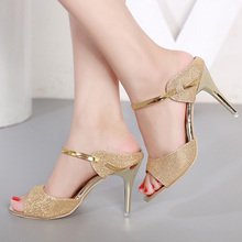 LAKESHI Summer Women Pumps Small Heels Wedding Shoes Gold Silver Stiletto  High Heels Peep Toe Women d0a5e17f9e2f