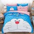 1.5 m/1.8 15mcartoon Doraemon gato Jogo de Cama Queen Size 100% Algodão Conjuntos Capa de Edredão da folha de cama