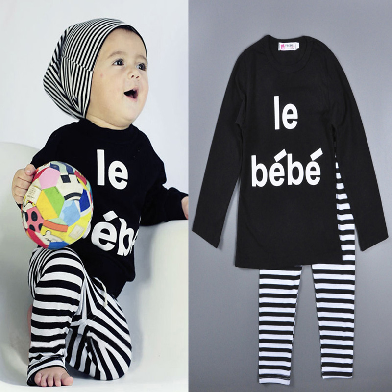 2016 Baby Winter Boy Kids Set Black LE BEBE T-shirt+Striped Pants Movement set Kids clothing Set Boy Children Clothes inverno 2pcs children outfit clothes kids baby girl off shoulder cotton ruffled sleeve tops striped t shirt blue denim jeans sunsuit set