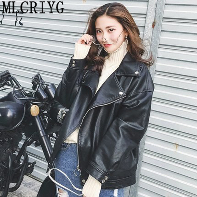 2019 New Fashion Faux Leather Jackets Women Spring Autunm Motorcycle Pu Leather Jacket Female Tops Outerwear High Quality LX91