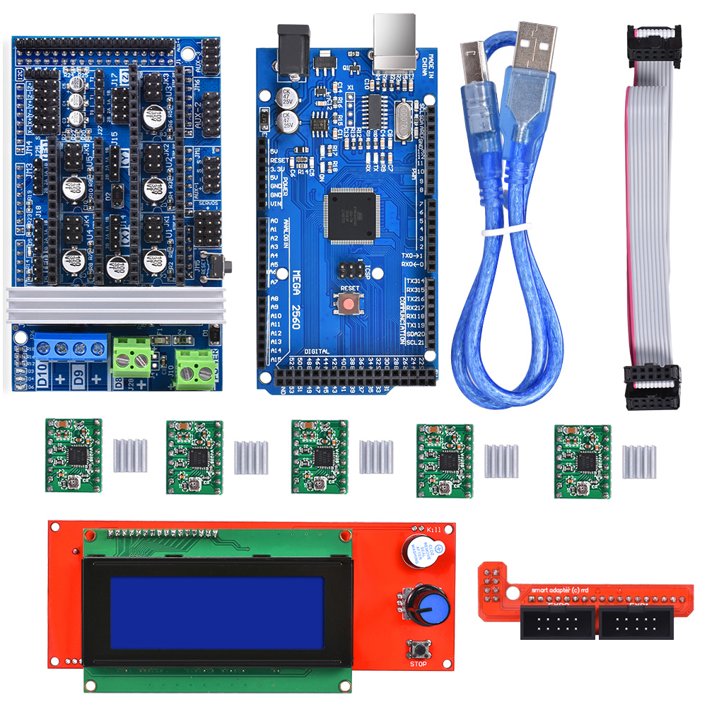BIQU 3D printer part Ramps 1.6 kit Base on Ramps 1.4 1.5 with 2004LCD Smart Controller Mega2560 Control Board Reprap Mendel janeke ножницы маникюрные закругленные mp118