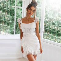 CUERLY Summer Lace Dresses Women Sexy Sleeveless Slim Cotton Backless Bow Tie White Lace Embroidery Ruffles Dress Vestidos L8
