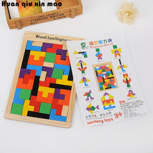 лучшая цена Wooden toys Tangram Brain-Teaser Puzzle Tetris Preschool Magination Intellectual Educational Kids Toys For Game Baby Children