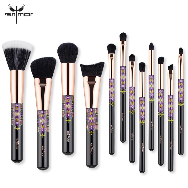 Anmor nuevo pinceles de maquillaje 12 piezas maquillaje profesional de los cepillos conjunto con la Fundación de sombra de ojos de cepillos