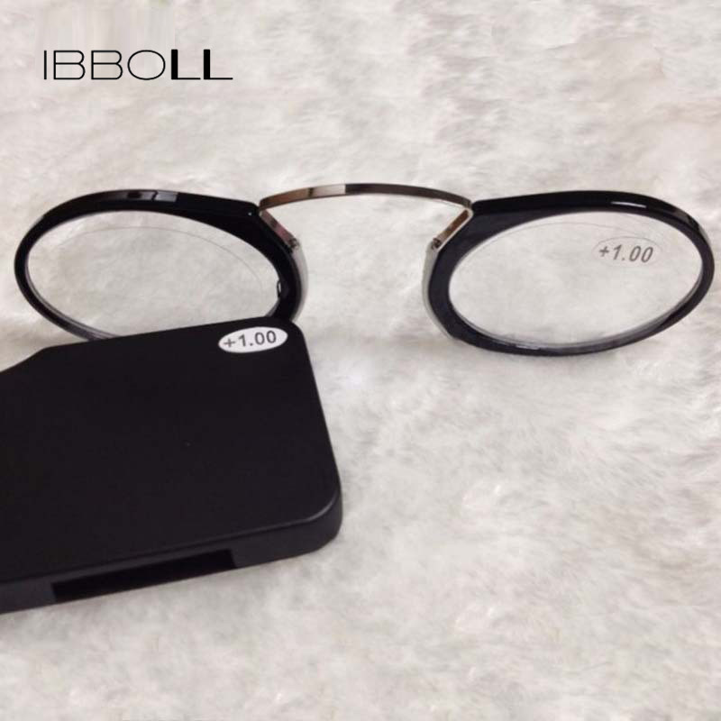 66fef74ebfa1 ibboll Mini Clip Nose Bridge Reading Glasses 1.0 To 3.5 Portable Wallet  Eyeglasses Presbyopic Glasses Reader With Case 009