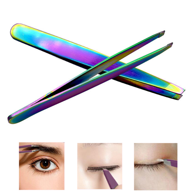 1PCS Rainbow Eyebrow Tweezer Fashion Eyelash Curler Stainless Steel Slant Tip Hair Remover Eyebrow Clip Beauty Makeup Tool FM88