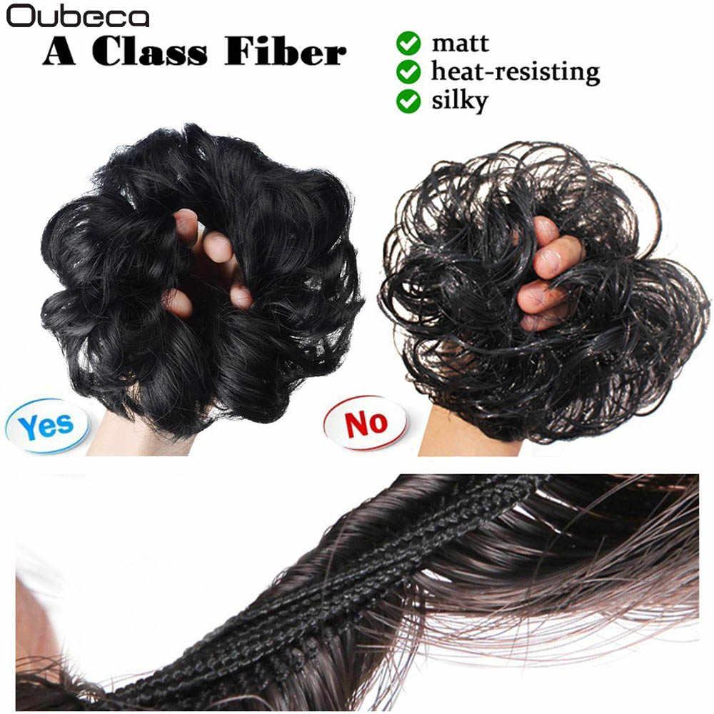 Oubeca sintético Flexible moño para el cabello rizado cabello moño elástico sucio ondulado Scrunchies abrigo para extensiones de cola de caballo para las mujeres