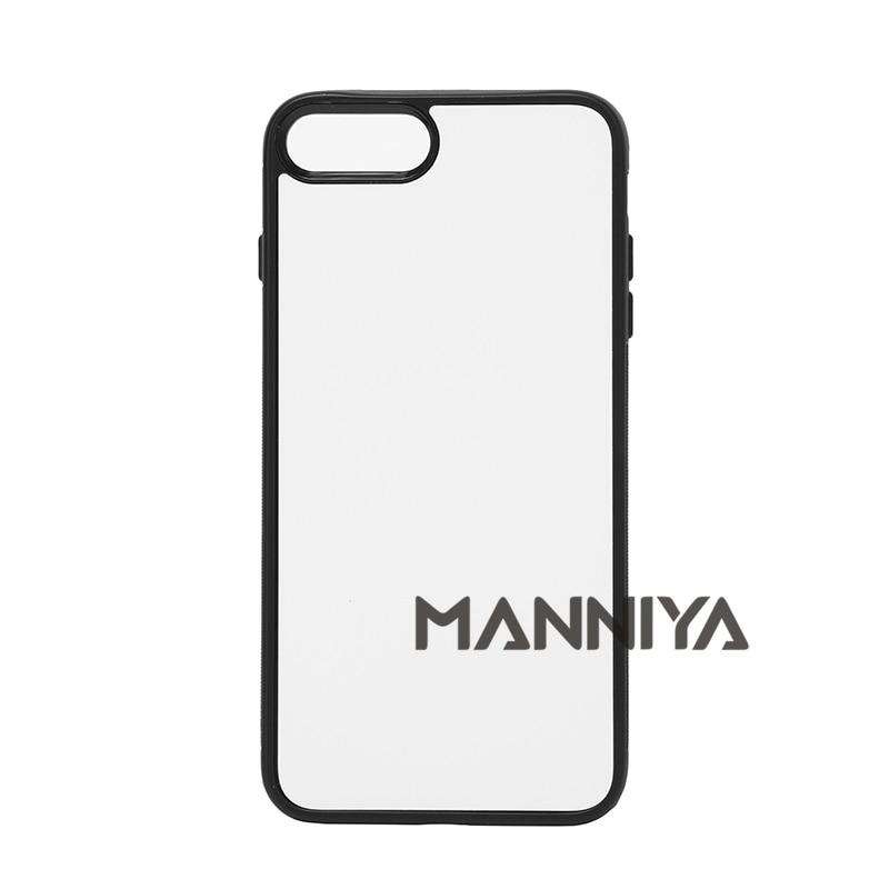 bilder für MANNIYA 2D Sublimation Leere gummi TPU + PC Fall für iphone 7 plus mit Aluminium-einlagen und kleber Kostenloser Versand! 50 teile/los