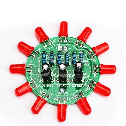 Diy Electronic Kit Set LED Round Water Light Making Kit For Skill Training Soldering Practice Parts