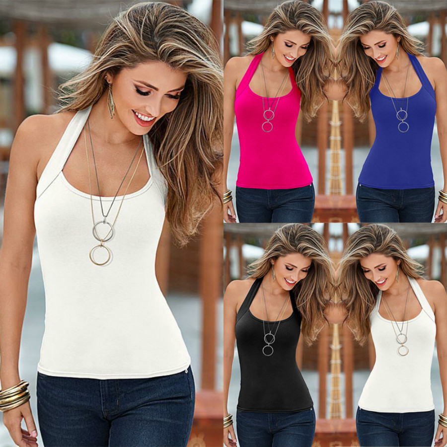 S-3XL 4colors Sexy Sleeveless Beach   Tank     Top   Hanging Neck Backless Ladies Strappy Vest Sport Summer Basic   Top   Breathable