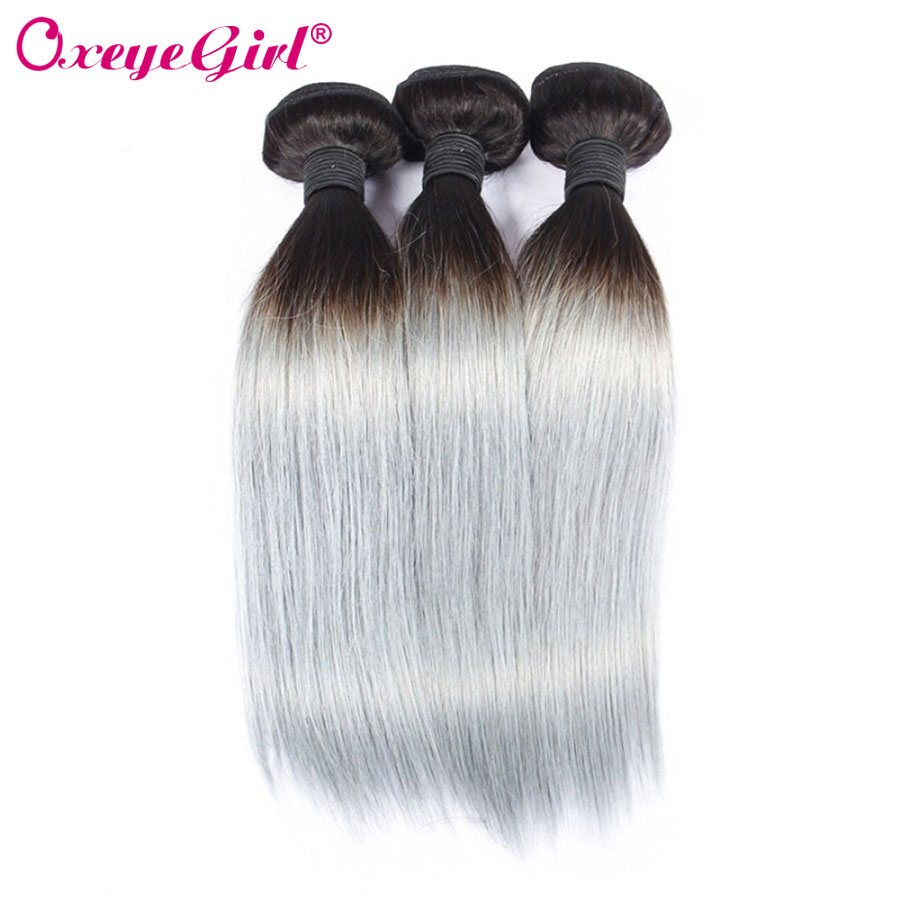 Ombre Bundles Grey Colored Straight Hair Bundles Brazilian Hair Weave Bundles 1B Grey 100 Human Hair