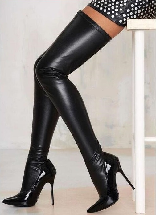 408cea5144e Women Chic Black PU Leather Pointed Toe Stiletto Heel Thigh High Boots Sexy  Patent Leather Over. sku: 32957348049