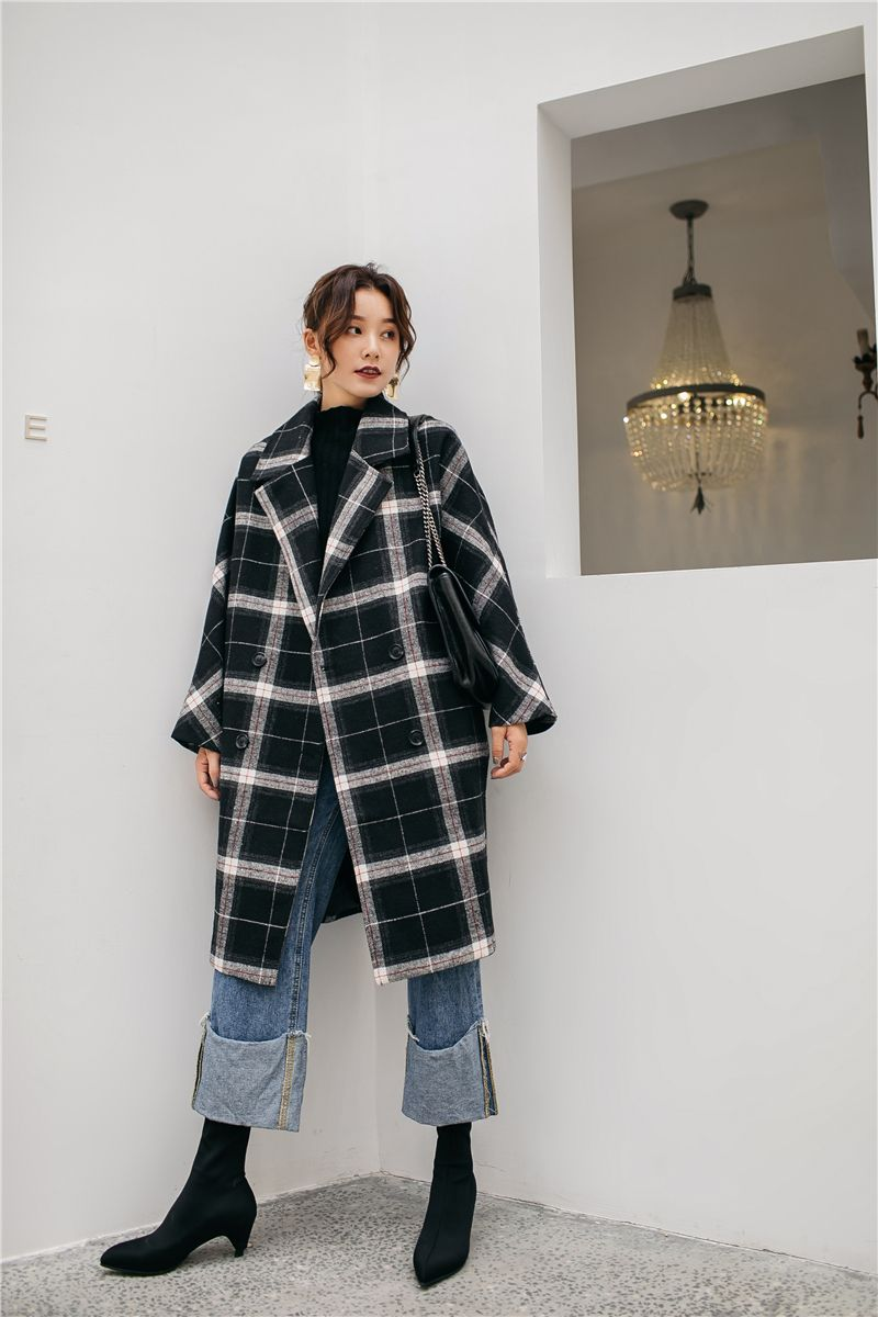 34f178d826b 2019 Cheerart Winter Long Wool Coat Women Plaid Coat Plus Size Tweed ...