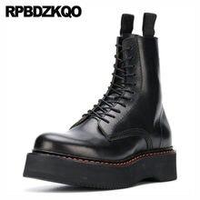 edef71aa Corto Ata Para Arriba Combate Militar Mollete Negro Zapatos Caer Botas De  Tobillo Mujer 2016 Punta Redonda Cuña Flatform Piel Ge.