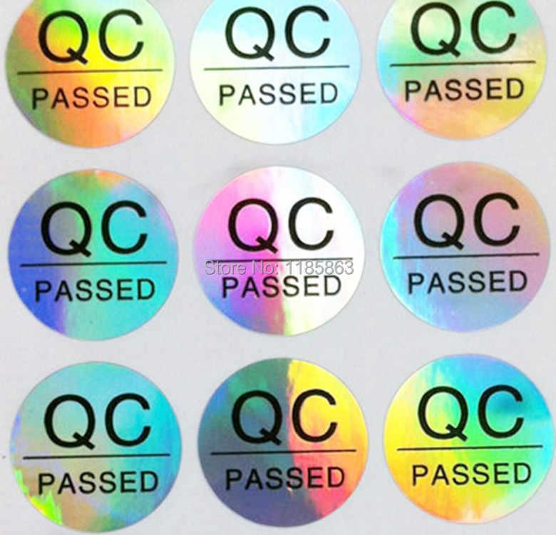 En gros 1000 pcs/lot rond 10mm QC étiquette autocollant étiquette personnalisée autocollant adhésif QC passé Laser hologramme autocollants