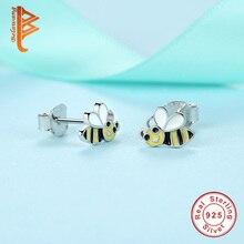 Real 925 Sterling Silver Cute Honeybee Animal Stud Earrings