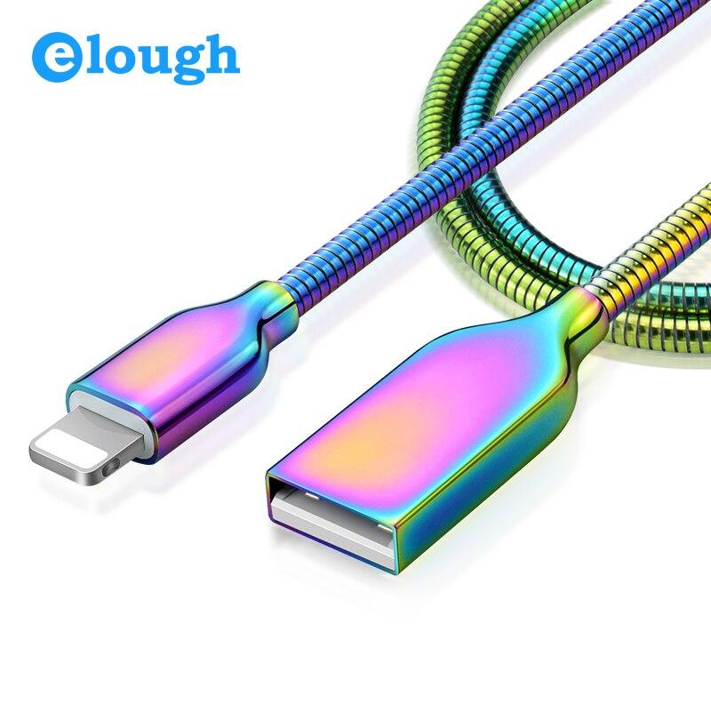 Elough все металлические usb кабель для iPhone X 5 5S 6 6 S 7 8 плюс iPad мобильный телефон Быстрая заряда макс 2A USB Зарядное устройство синхронизации данны…