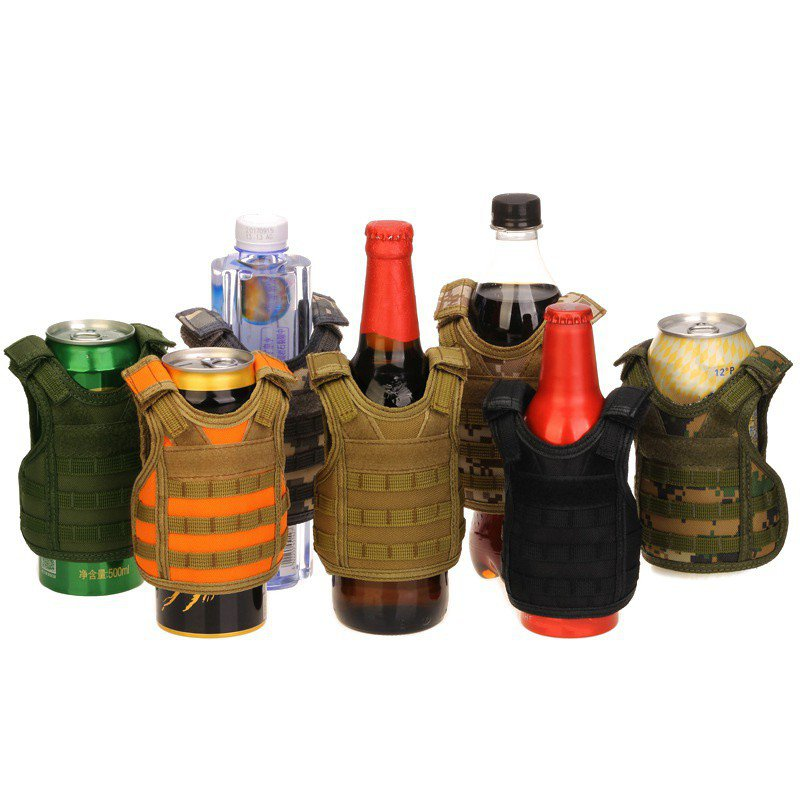 Camping Multi-tool Beer Bottle Cover Mini Vest Shape Nylon Adjustable Detachable DIY Drinks Can Water Bottles Decoration KTV Bar