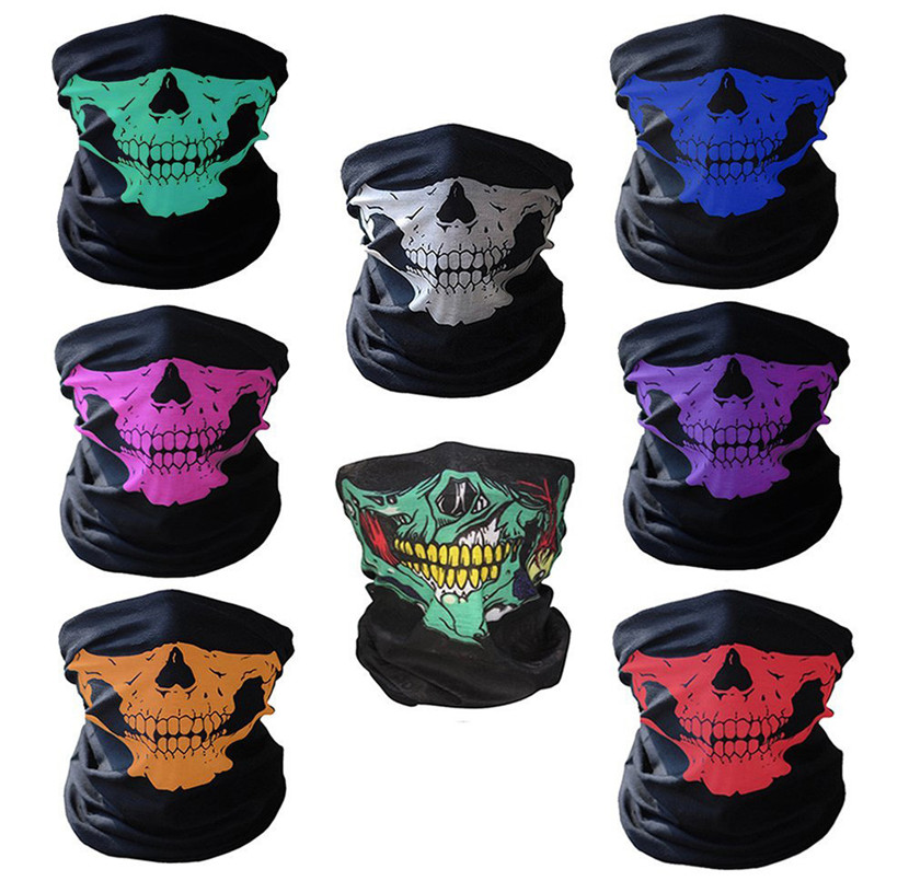 Universal Motorycle Bicycle Ski Skull Half Face Mask Ghost Scarf Multi Use Neck Warmer COD Winter Halloween Face shield halloween black long face ghost mask black red