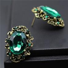 Bronze antique stone stud green rhinestone big wedding earrings crystal vintage
